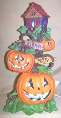 pumpkins with birdhouse
