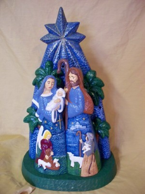 Mary and Joseph  with palm trees