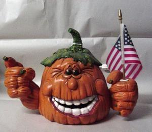 pumpkin with flag