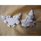 2 ornaments, snowmen and a snowflake