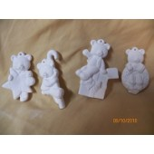 4 bear ornaments in set 34