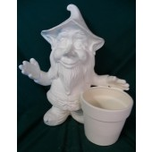 standing gnome with flower pot