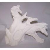 two driftwood horses