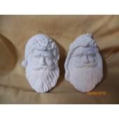 2 Santa head ornaments