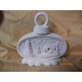 small ornament with house scene
