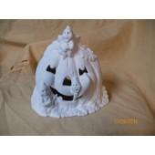 ghosts carving pumpkin