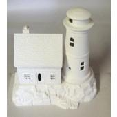 lighthouse and shingle house