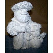Santa with snowman and broom